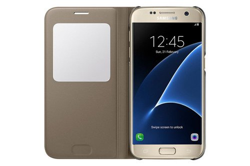 Etui Samsung S View Cover Złote do Galaxy S7 EF-CG930PFEGWW