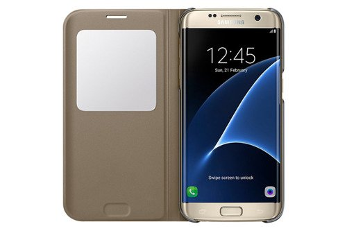 Etui Samsung S View Cover Złote do Galaxy S7 edge EF-CG935PFEGWW